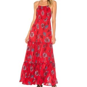 NWT Free People Garden Party Dress in Red Combo